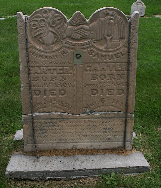 Gravestone of Samuel and Hannah Huntingdon Carter